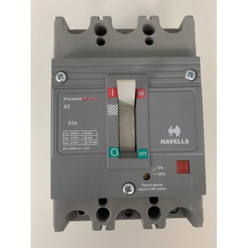 Havells 63A Triple Pole Powersafe 25kA Circuit Breaker MCCB (Brand New)