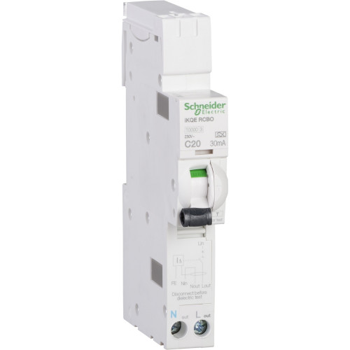 Schneider Square D IKQ 20A Single Pole and Neutral 1 Module C Curve 10kA 30mA Type A RCBO