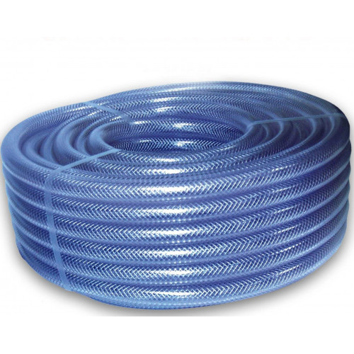"3/8"" Clear Braided PVC Hose Pipe - Per 1m Length"