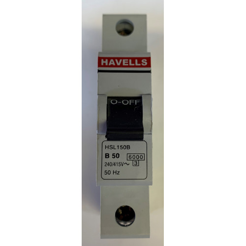 Havells 50A Single Pole MCB Type B (Brand New)