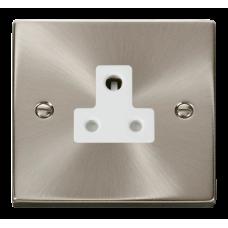 Click Deco 5A Round Pin Socket White Victorian Sat Chrome