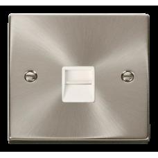 Click Deco Single Telephone Socket Master White Victorian Sat Chrome