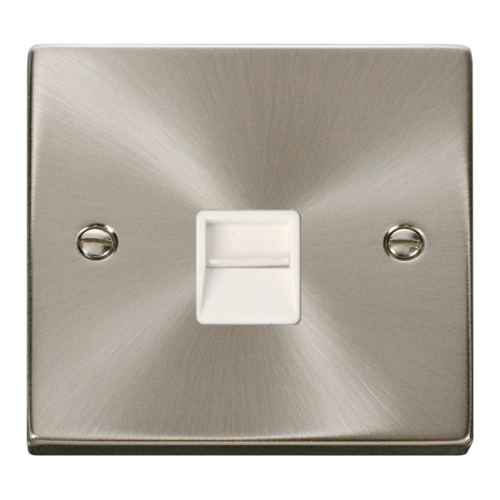 Click Deco Single Telephone Socket Secondary White Victorian Sat Chrome