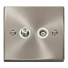 Click Deco 1 Gang Satellite & Isolated Coaxial Socket White Victorian Sat Chrome
