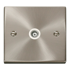Click Deco Single Isolated Coaxial Socket White Victorian Sat Chrome