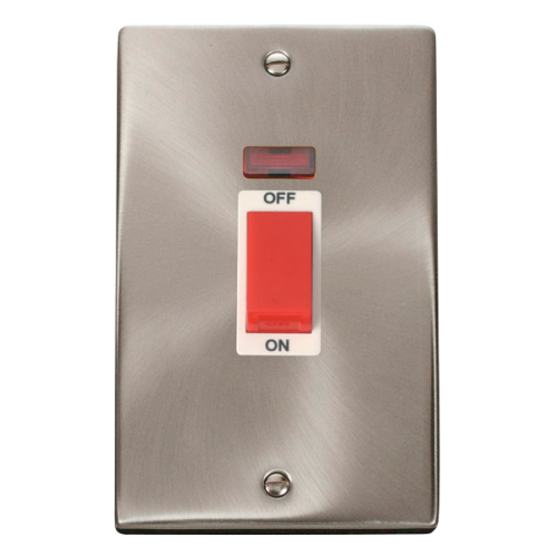 Click Deco 2 Gang 45A DP Switch With Neon White Victorian Sat Chrome
