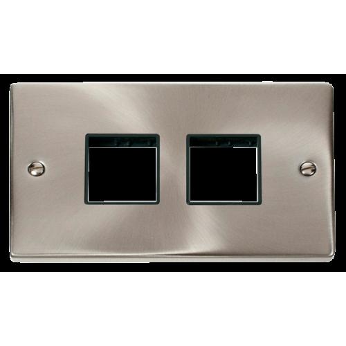 Click Deco 2 Gang Plate (2 x 2) Aperture Black Victorian Sat Chrome