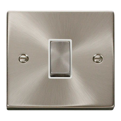 Click Deco 1 Gang Intermediate Ingot 10AX Switch White Victorian Sat Chrome