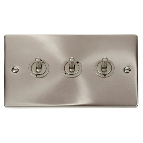 Click Deco 3 Gang 2 Way 10AX Toggle Switch Victorian Sat Chrome