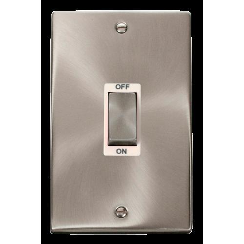 Click Deco Ingot 2 Gang 45A DP Switch White Victorian Sat Chrome