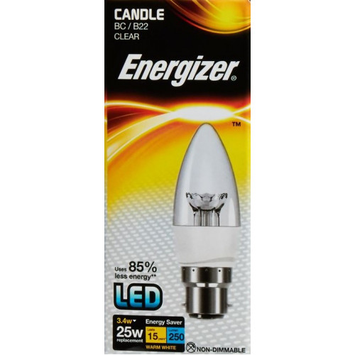 ENERGIZER LED CANDLE 250LM 3.4W CLEAR B22 (BC) WARM WHITE
