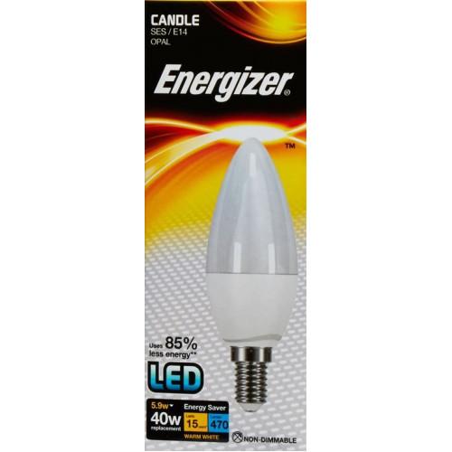 ENERGIZER LED CANDLE 470LM 5.9W OPAL E14 (SES) WARM WHITE