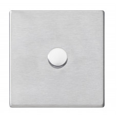 Hamilton Hartland G2 Satin Stainless Steel 1g 100W LED 2 Way Push On/Off Rotary Dimmer