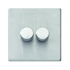 Hamilton Hartland G2 Satin Stainless Steel 2g 100W LED 2 Way Push On/Off Rotary Dimmer
