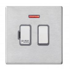 Hamilton Hartland G2 Stainless Steel 1 Gang 13A DP Switched Fused Spur with Neon and Quartz Grey Insert