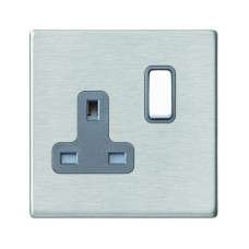 Hamilton Hartland G2 Stainless Steel 1 Gang 13A DP Switched Socket with Quartz Grey Insert