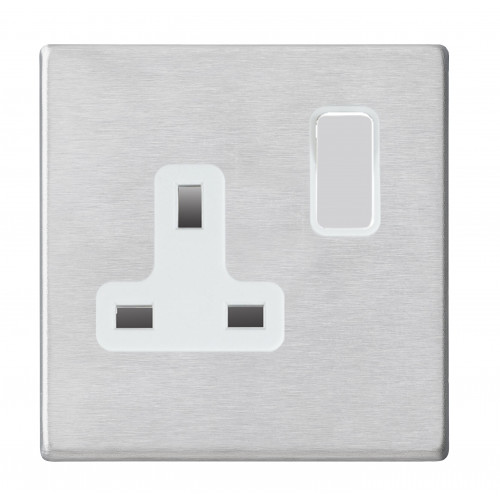 Hamilton Hartland G2 Stainless Steel 1 Gang 13A DP Switched Socket with white Insert
