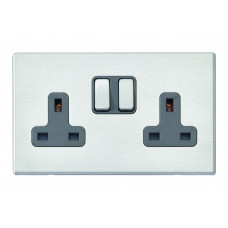 Hamilton Hartland G2 Stainless Steel 2 Gang 13A DP Switched Socket with Quartz Grey Insert