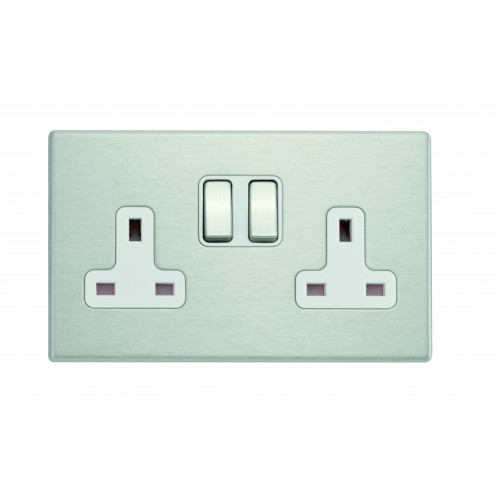 Hamilton Hartland G2 Stainless Steel 2 Gang 13A DP Switched Socket with White Insert