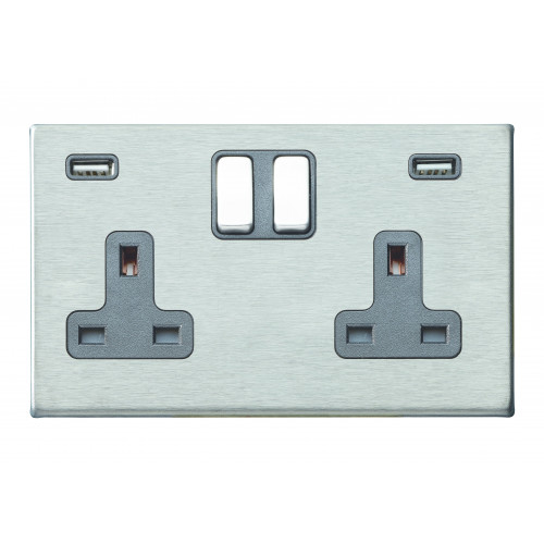 Hamilton Hartland G2 Stainless Steel 2 Gang 13A DP Switched Socket with 2x2.4A USB Outlet and Quartz Grey Insert