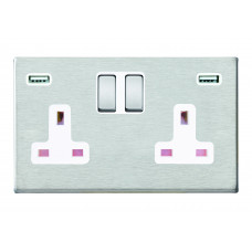 Hamilton Hartland G2 Stainless Steel 2 Gang 13A DP Switched Socket with 2x2.4A USB Outlet and white Insert