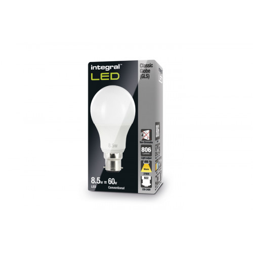 INTEGRAL Classic Globe (GLS) 9.5W (60W) 2700K 806lm B22 240 deg Beam Angle Non-Dimmable-Lamp