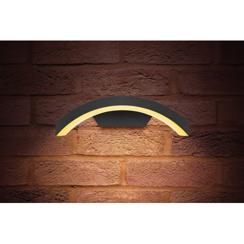 Integral LED Outdoor Curve Wall Light 7.5W, Dark Grey, Warm White