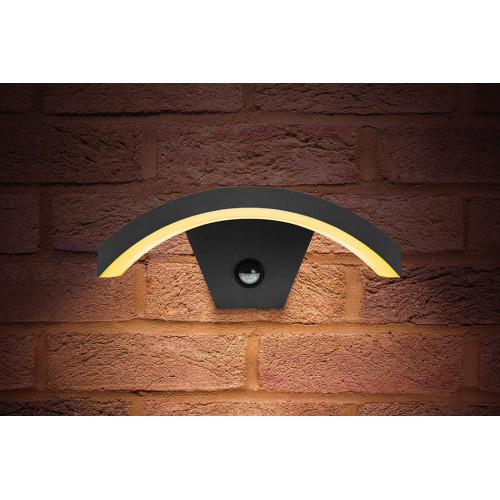 Integral LED Outdoor PIR Curved Wall Light 7.5W, Dark Grey, Warm White