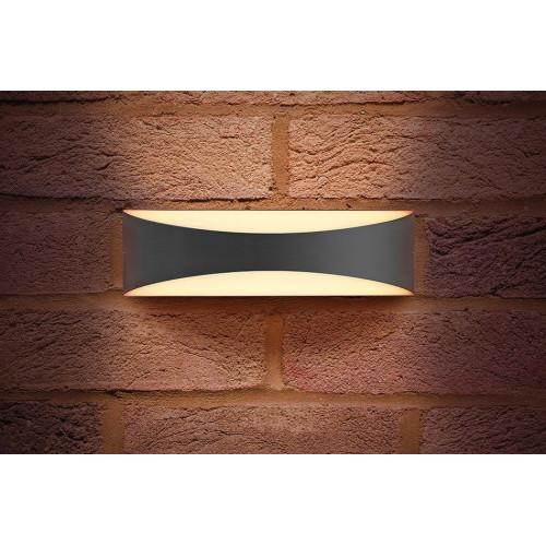 Integral LED Outdoor Wave Wall Light 7W, Dark Grey, Warm White