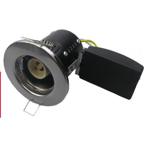 FIRE RATED SHORT CAN DOWNLIGHT GU10 FIXED - SATIN CHROME