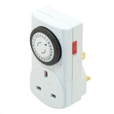 24 Hour Plug-In Mechanical Timer Switch with 13 Amp Socket