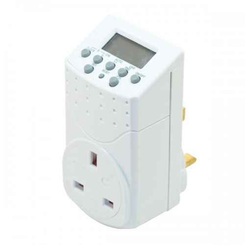 7 Day Plug-In Digital Timer with 13 Amp Socket & LCD Screen