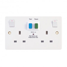 2 Gang 13 Amp RCD Socket DP – Passive/Latching – Switched