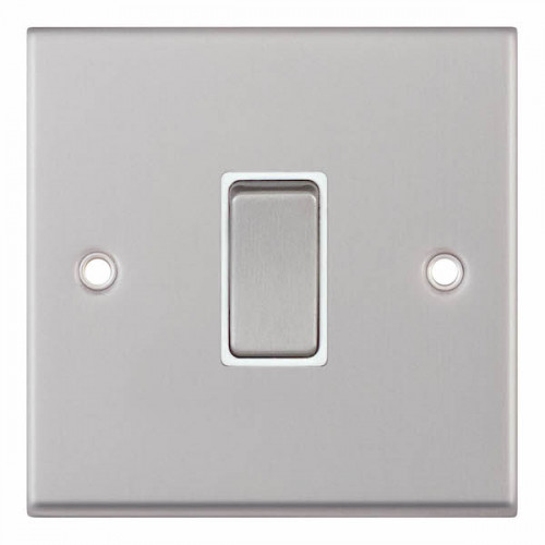 Selectric 7M-Pro Satin Chrome 1 Gang 10A 2 Way Switch with White Insert 7MPRO-101