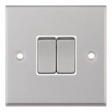 Selectric 7M-Pro Satin Chrome 2 Gang 10A 2 Way Switch with White Insert 7MPRO-102