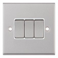 Selectric 7M-Pro Satin Chrome 3 Gang 10A 2 Way Switch with White Insert 7MPRO-103