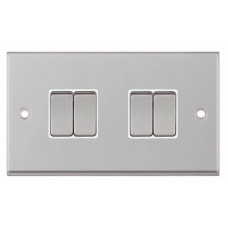 Selectric 7M-Pro Satin Chrome 4 Gang 10A 2 Way Switch with White Insert 7MPRO-104