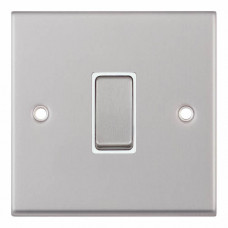 Selectric 7M-Pro Satin Chrome 1 Gang 10A Intermediate Switch with White Insert 7MPRO-107