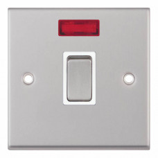 Selectric 7M-Pro Satin Chrome 1 Gang 20A DP Switch with Neon and White Insert 7MPRO-116