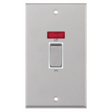 Selectric 7M-Pro Satin Chrome 2 Gang 45A DP Switch with Neon and White Insert 7MPRO-118