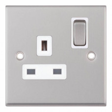 Selectric 7M-Pro Satin Chrome 1 Gang 13A DP Switched Socket with White Insert 7MPRO-121