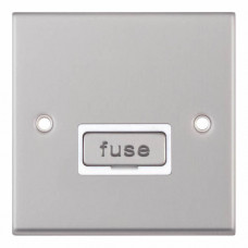 Selectric 7M-Pro Satin Chrome 13A Fused Connection Unit with White Insert 7MPRO-127