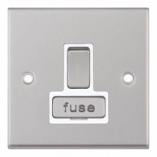 Selectric 7M-Pro Satin Chrome 13A DP Switched Fused Connection Unit with White Insert 7MPRO-128