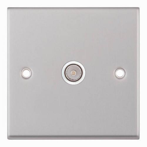 Selectric 7M-Pro Satin Chrome 1 Gang TV Socket with White Insert 7MPRO-133