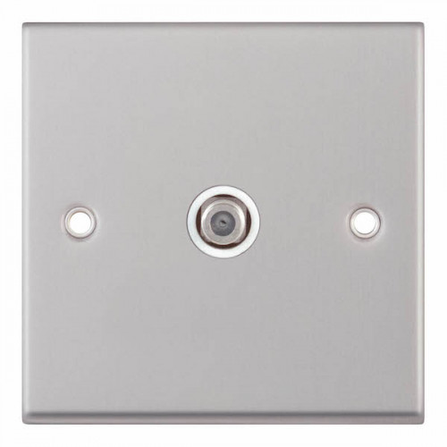 Selectric 7M-Pro Satin Chrome 1 Gang Satellite Socket with White Insert 7MPRO-135