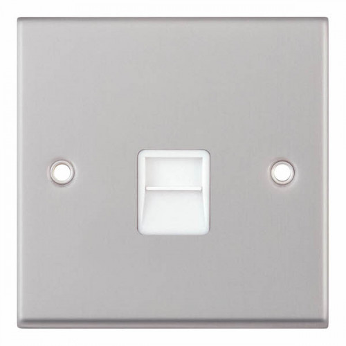 Selectric 7M-Pro Satin Chrome 1 Gang Telephone Master Socket with White Insert 7MPRO-138