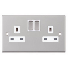 Selectric 7M-Pro Satin Chrome 2 Gang 13A Switched Socket with White Insert 7MPRO-151