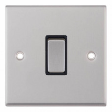 Selectric 7M-Pro Satin Chrome 1 Gang 10A 2 Way Switch with Black Insert 7MPRO-201