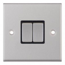 Selectric 7M-Pro Satin Chrome 2 Gang 10A 2 Way Switch with Black Insert 7MPRO-202