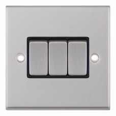 Selectric 7M-Pro Satin Chrome 3 Gang 10A 2 Way Switch with Black Insert 7MPRO-203
